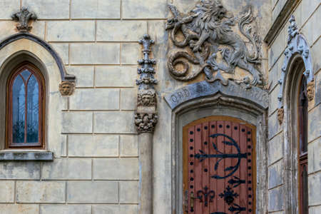 An ancient door from Sturdza Castel, Miclauseni, Romania