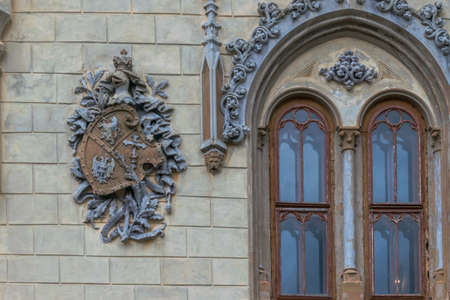 A neo-gothic window from Sturdza Castle, Miclauseni, Romania Editorial