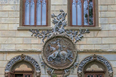 A wall sculpture illustrating a worrier who is riding a horse, Sturdza castle, Miclauseni, Romania