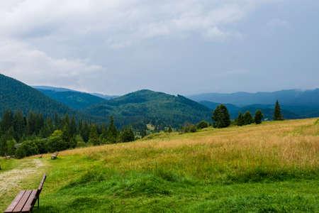 Mountains view as seen from the entrance in fairies garden, Borsec, Romania