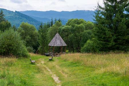 View over traditional fairies garden bath, Borsec, Romania