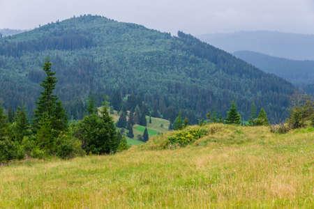 Mountains view as seen from the entrance in fairies garden, Borsec, Romania Stock Photo