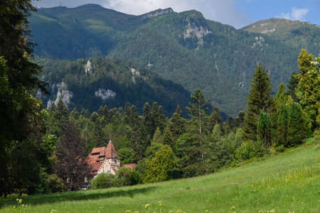 An old isolated castle on the way to Peles Castle, Sinaia, Romania