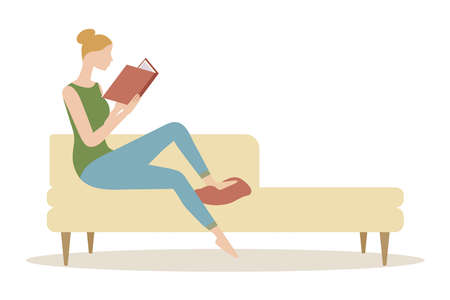 A woman is reading a book on the couch. vector