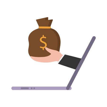 In his hand is a bag of money. vector illustration