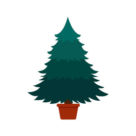 Christmas tree in a pot without decorations. vector illustration