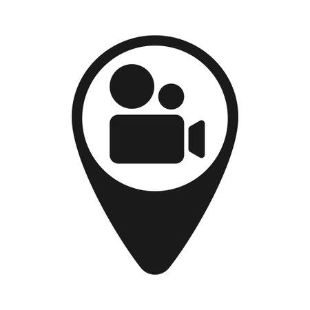 Icon. Black and white video camera icon. Map label. Illustration