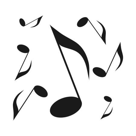 Eighth notes, song, melody. Black and white silhouette of musical notes. Illustration