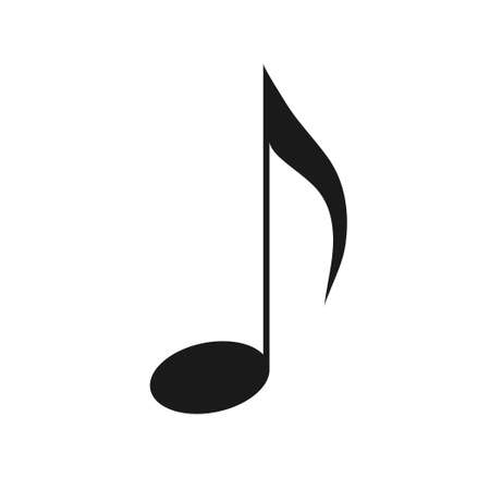 Eighth note, song, melody. Black note on a white background. Illustration