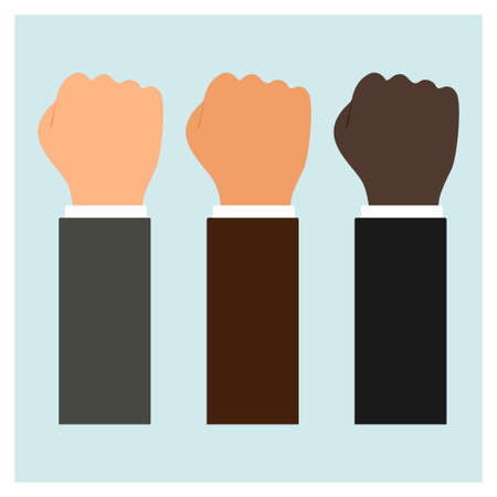 Set of fists of different shades on a white background. Illustration
