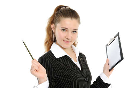The girl smiles, in hands holds a mechanical pencil and a folder Stock Photo - 6037698