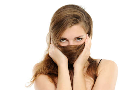 The woman covering with hair a nose and lips photo