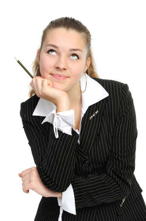 The young business woman reflects Stock Photo - 6104037