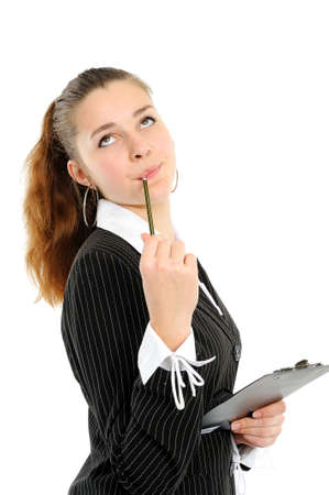 The reflecting business woman with a folder Stock Photo - 6104055