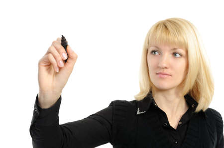Business woman drawing something on screen with a pen - isolated over a white background photo