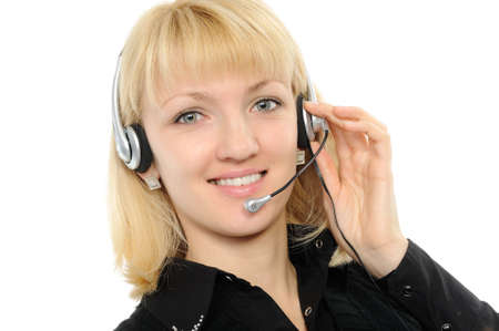 Young female customer service representative in headset. photo