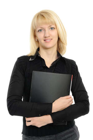 Young woman in business attire holding a plannerfolder photo