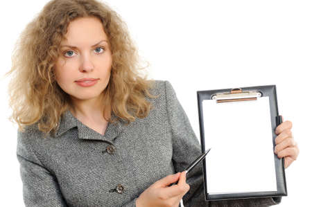 Portrait of the beautiful business woman stretching a pencil, representing something. photo