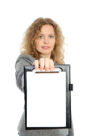 Portrait of the business woman with a folder representing something. photo