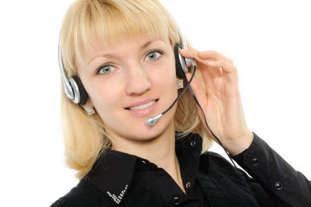 Young female customer service representative in headset. Stock Photo