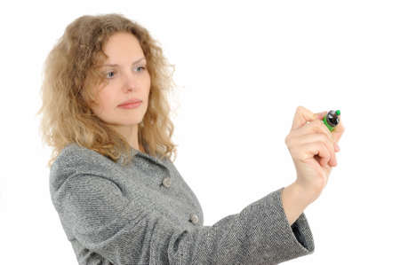 Business woman drawing something on screen with a pen photo