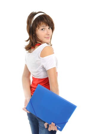 The young girl with a folder Stock Photo
