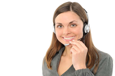 Young female customer service representative in headset.