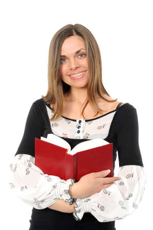 The young girl with long hair and the book Stock Photo - 6364522