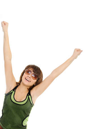 girl jumping of joy over a white background Stock Photo