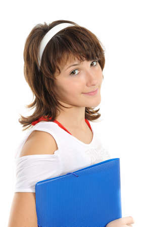 The young girl with a folder