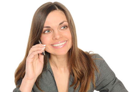 beautiful business woman on the phone smiling photo