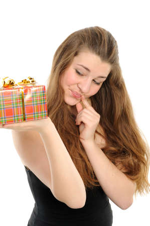The happy woman with the gift, separately on a white background Stock Photo - 6391378