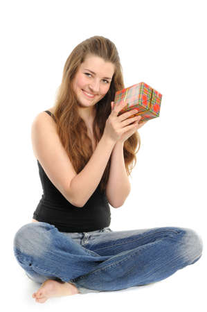 The happy woman with the gift, separately on a white background