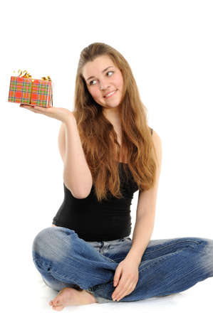 The happy woman with the gift, separately on a white background Stock Photo - 6391387