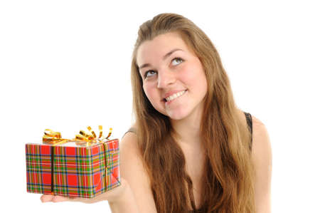 The happy woman with the gift, separately on a white background Stock Photo - 6391384