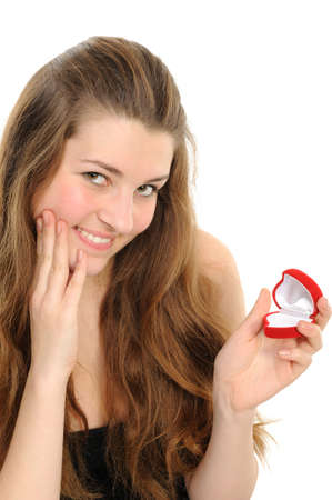 The beautiful woman with the open gift Stock Photo - 6391381