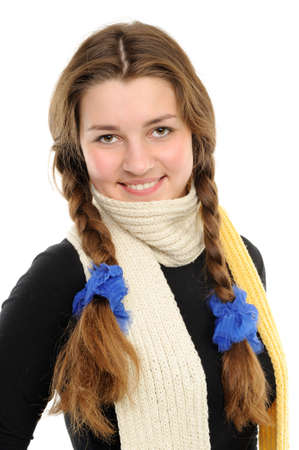 Portrait of the happy girl with long hair Braided Stock Photo
