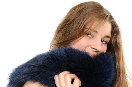 Portrait of the young girl with fur Stock Photo