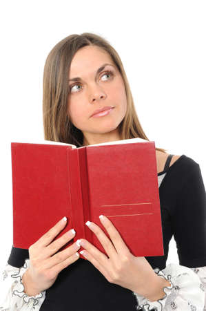 The young girl with long hair and the book Stock Photo - 6414079