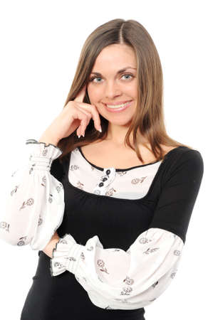 Positive business woman smiling over white background photo