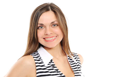 Positive young woman smiling photo