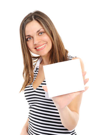 Beautiful  girl holding empty white board photo