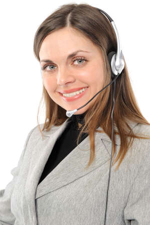 female customer service representative in headset photo