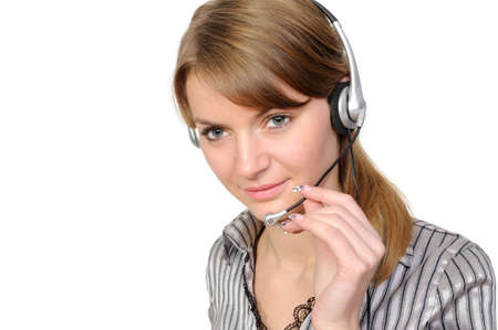 Young female customer service representative in headset on a white background photo