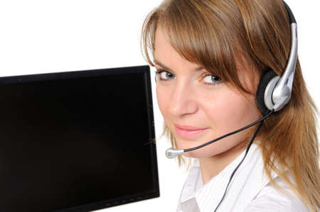 Customer Representative with headset smiling during a telephone conversation  ,On a white background