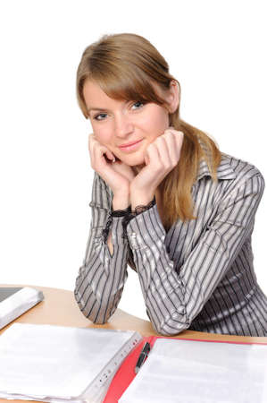 Portrait of business woman with a folder Stock Photo - 6736031