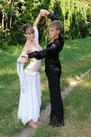 Dancing couple outdoors photo