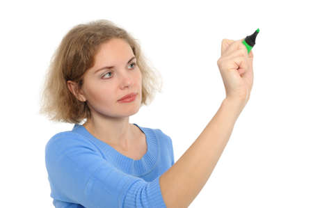 woman drawing something on screen with a pen - isolated over a white background photo