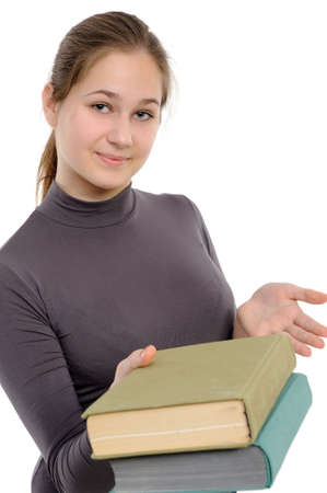 girl, giving the book on a white background photo
