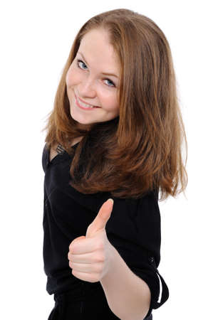 Success girl exposing greater fingers, on a white background. Stock Photo - 8668951